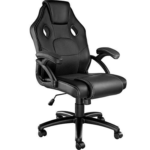 TecTake 800770 Racing Bürostuhl, Gaming Stuhl mit Wippmechanik, Kunstleder Chefsessel Drehstuhl, höhenverstellbarer Schreibtischstuhl, ergonomisch - Diverse Farben - (Schwarz-Schwarz | Nr. 403457)