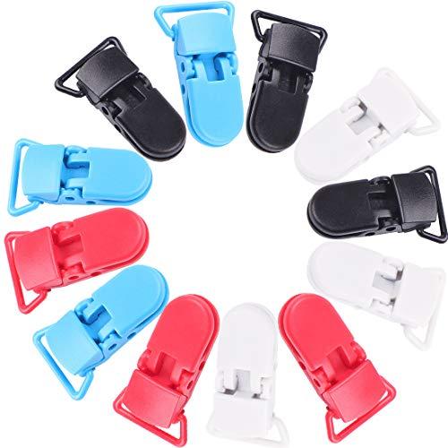 ZSWQ Clip Per Ciuccio Plastica Ciuccio Clip Resina Ciuccio Porta Di Supporto Clip Per Baby Placifier e Giocattoli Pulsante Fisso Regolare Da 12pcs 4 Colori