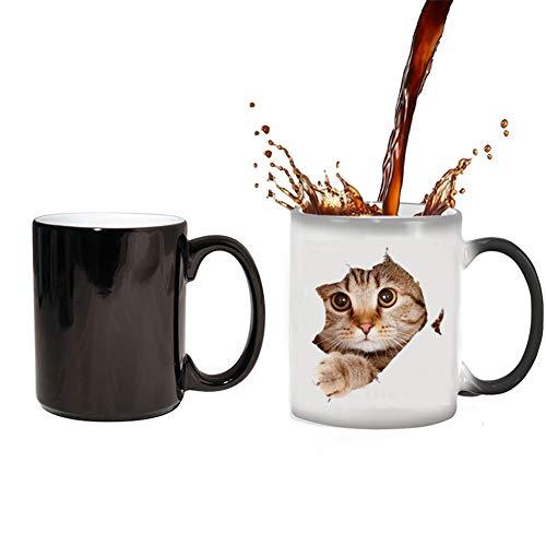 YDGHD - Taza de café con cambio de calor, diseño de gato con cambio de calor, 12 onzas sensibles al calor, color cambiante, taza de café linda de regalo de Navidad para mujeres, hombres y niños (gato)