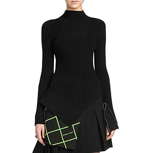 YSHJF Minimalistische Frauen Pullover Langarm O Neck Slim unregelmäßigen weiblichen PulloverHerbst Large Size Fashion