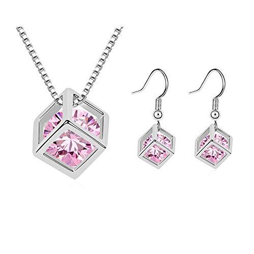 AIFEI Schlanke minimalistische geometrische Damen Ohrringe aus Zirkon-Collier, Pink