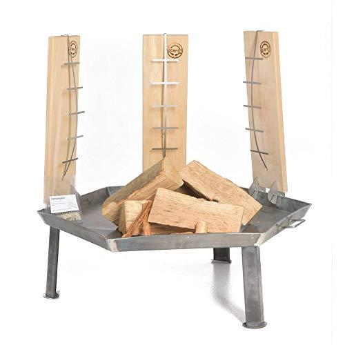 Acerto Massieve hoekige vuurschaal van natuurlijk staal voor de tuin, set van 5 stuks hout hout Feuerschale 55cm + 3 Flammlachsbretter