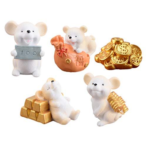 BESPORTBLE 5 Stücke Mini Mäuse Figuren mit Goldmünzen Ratten Skulptur Tortenfigur Dekofigur Miniatur Garten Tiere Kuchen Topper für Moos Feng Shui Deko Auto Micro Landschaft Dekoration