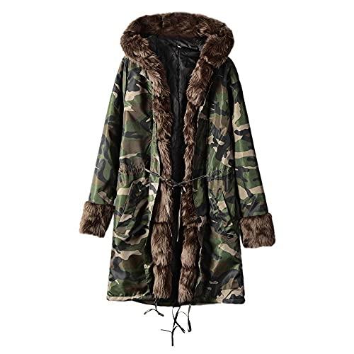 Women's Hooded Coat Outwear Keep Warm Winter Jacket Fishtail Long Sleeves Overcoat Blouses Tops Green