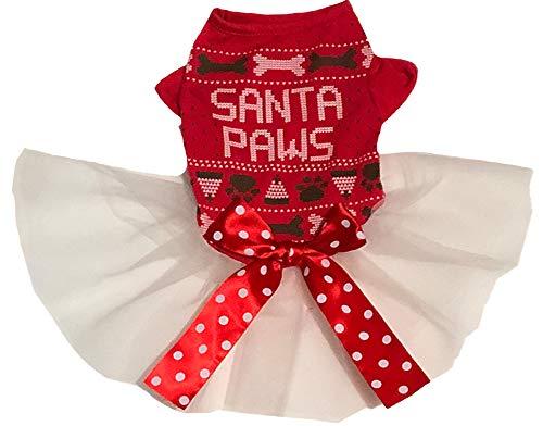 Petitebelle Kerst Print Puppy Hond Jurk, X-Small, Red Santa