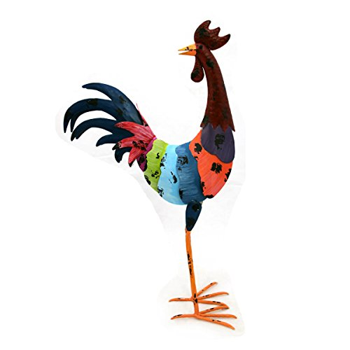 Gall&zick decoratieve kraan, kleurrijk beschilderd, tuindecoratie, dier kip, metaal, sculptuur, figuur design, kunst