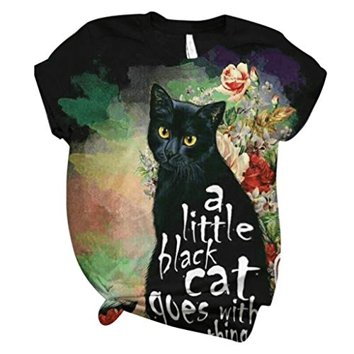 Higlles T-Shirt Damen Sommer Cat Dog Rabbit Bedrucktes Kurzarm Lose Bluse Damen Blusen Tops Sweatshirt Kapuzenpullover Langarmshirts Beste Freunde Pullover Hoodies für Frauen mit 3D Tier Animal Motiv