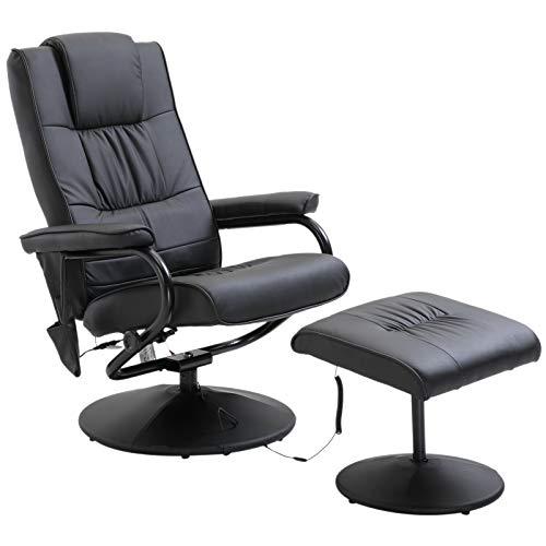 Fauteuil de Massage Vibration Électrique Relaxation avec Chauffage Noir de Homcom