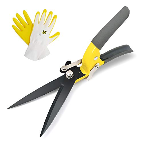 Jardineer Hand Grass Shears, Sharp Blade, Smooth Cutting and Non-Slip Grip, Design for Lawn and Garden, Trimming Various Grass and Light Hedges