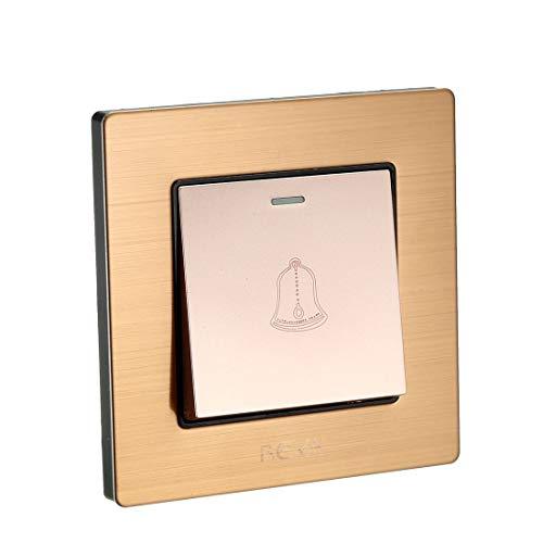 sourcing map Interruptor de botón pulsador de timbre Botón Dorado Café AC 250V 16A Panel de acero inoxidable