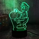 3D Lámpara ilusión Luces de noche 3D Lámpara de mesa LED Juego Figura de acción Super Mario Bros Decoración multicolor de 7 colores Decoración de fiesta Regalos para niños Juguetes para niños