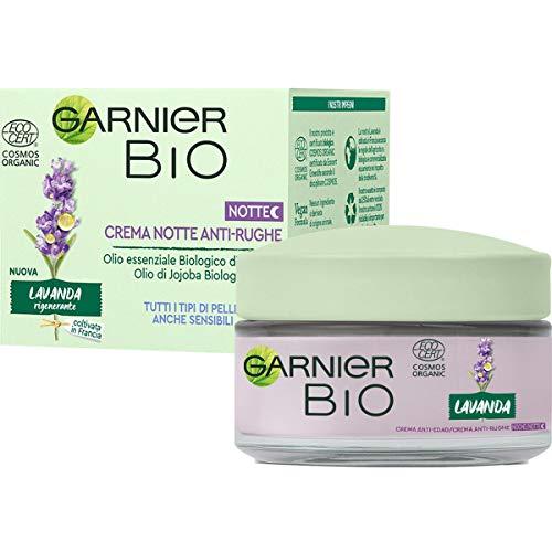 Garnier Bio Crema Notte Antirughe Rigenerante alla Lavanda , Formula Arricchita con Oli di Argan e Jojoba Biologici, 50 ml