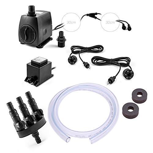 CLGarden SP2-S Pompe de fontaine SP2 Kit de s pour jeu d'eau pierre Source ruisseau pompe de fontaine fontaine de jardin avec 2 Bague LED éclairage 2 x sortie d'eau