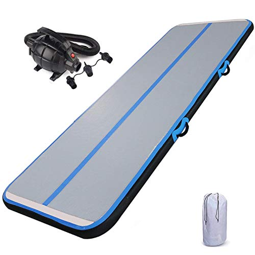 HEYLIFE Air Track 10 Foot Thick 8 Inches Airtrack Gymnastics Mat Inflatable Tumble Track with Electric Air Pump Gymnastics Training Black Blue for Kids Boys Girls Birthday Gift