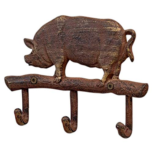 Gift Craft Pig Rustic 7 x 5.5 Inch Cast Iron 3-Hook Wall Hanger Plaque