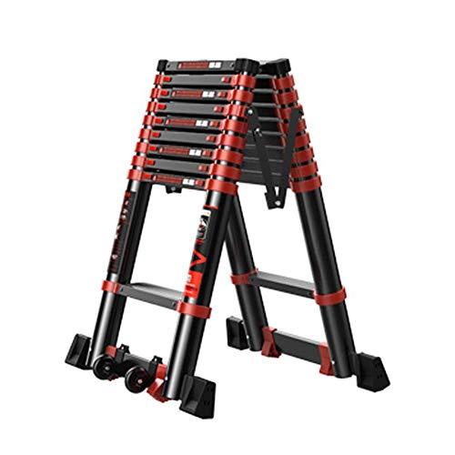 Las escaleras portátiles telescópicos con Ruedas, de Aluminio Plegable de Extensión Profesional Escalera con Plataforma de Trabajo, 330lbs Carga (Tamaño: 2,7 m / 8.9ft) ZHNGHENG