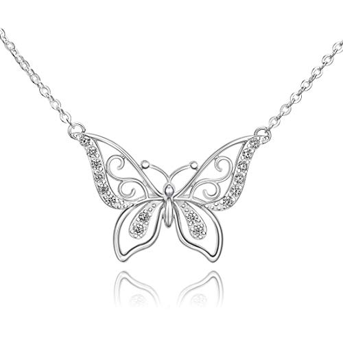 ELEGANZIA Butterfly Necklaces for Women Sterling Silver Jewelry Sparkling Cubic Zirconia for Teenage Girls Girlfriend Mom