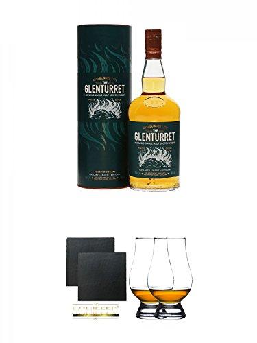 Glenturret PEATED Single Malt Whisky 0,7 Liter + Schiefer Glasuntersetzer eckig ca. 9,5 cm Ø 2 Stück + The Glencairn Glass Whisky Glas Stölzle 2 Stück