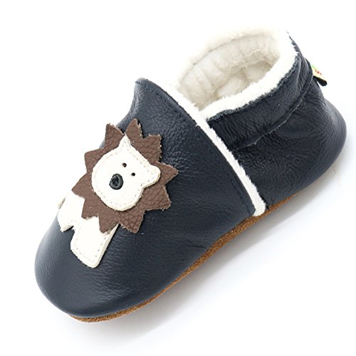 LPATTERN Baby Jungen/Mädchen Winter Babyschuhe Lauflernschuhe Krabbelschuhe gefüttert, Beige Löwe auf Dunkelblau, 18-24 Monate