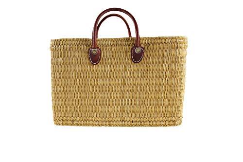 Kobolo® Einkaufstasche Einkaufskorb Badetasche Flechttasche aus natürlichem Seegras mit Echt-Leder-Henkeln in Größe M / 44x18x30 cm