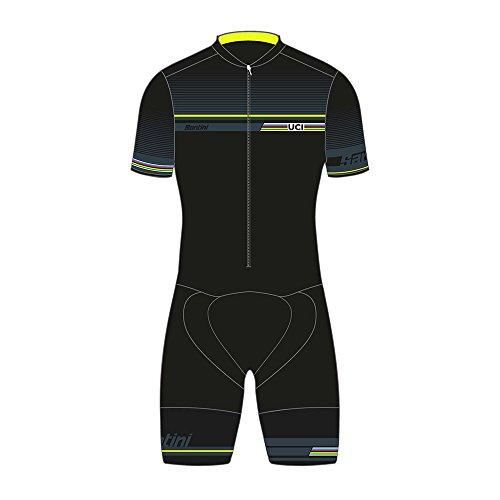 UCI IRIDe Fashion Line Road Speed Shell Santini Replica Skin Suit C3 Pad Bavoir Noir 2XL, Homme, Noir, L