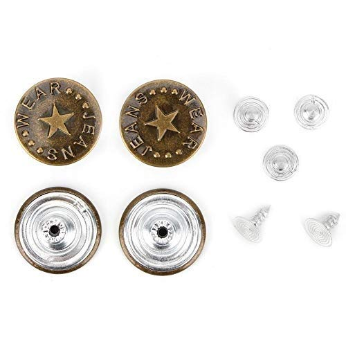 HEEPDD Botones de Jeans, 10 Piezas Populares, delicadas broches de Jean de 20 mm Vintage con Remaches para Pantalones Vaqueros, Ropa de Abrigo, Cinturones, Chaqueta(# 13)