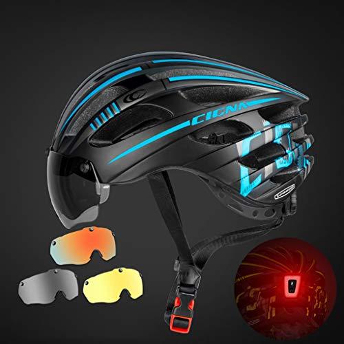 ZYHA Fahrradhelm,Erwachsene Fahrrad Helm mit Magnetischer Visier-Schutzbrille mit LED-Rücklicht 52~60 cmOutdoors Sports Safety Superleichter Einstellbare Kinnpolster Belüftung