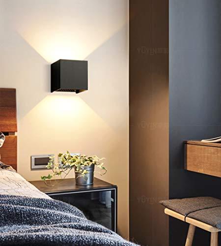 YETU LED wandlamp wandlamp voor buiten waterdicht en moderne wandlamp van aluminium voor inbouw 7 W geschikt voor gebruik binnenshuis voor woonkamer, zwart