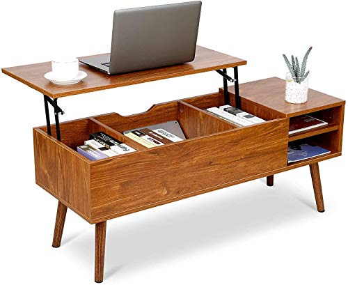 amzdeal Modern Lift Top Coffee Table with Larger Hidden Compartment, Adjustable Storage Shelf, Wood Lift Top Table Easier to Lift Up and Close, Lift Tabletop Table for Living Room, Office