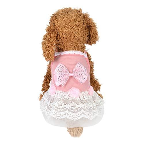 Xmiral Tutu Abiti per Cani di Piccola Taglia Vestiti per Cani Cucciolo Animali Domestici Carino Costumi Primavera Abiti Estate Cane Vestiti Stampa Fantasia Tutu Matrimonio L Rosa