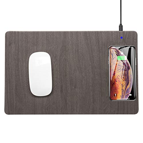 TFACR Alfombrilla de Teclado con Cargador inalámbrico de 10 W, Alfombra para Raton Carga rápida para el hogar/Oficina, Mousepad extendido para iPhone X iPhone 8 Galaxy S8 S9 Plus
