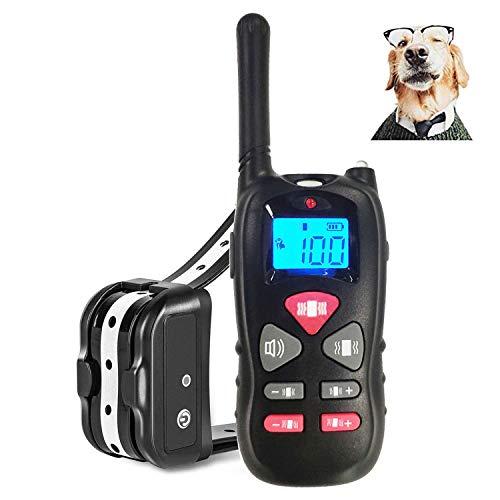 JJOBS Collar de Adiestramiento para Perros Sin Descargas Eléctricas con Rango de 500 Metros, Funciones Vibración y Sonido, Impermeable y Recargable (1 Perro)