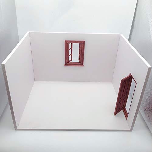 Leying 1/12 Soldado Casa De Muñecas Modelo Bjd Escena Casa Mini Casa De Madera Escena Accesorios para El Hogar (B)