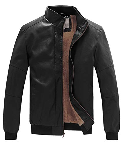 WenVen Men's Stand Collar Leather Jacket Motorcycle Coat Black M