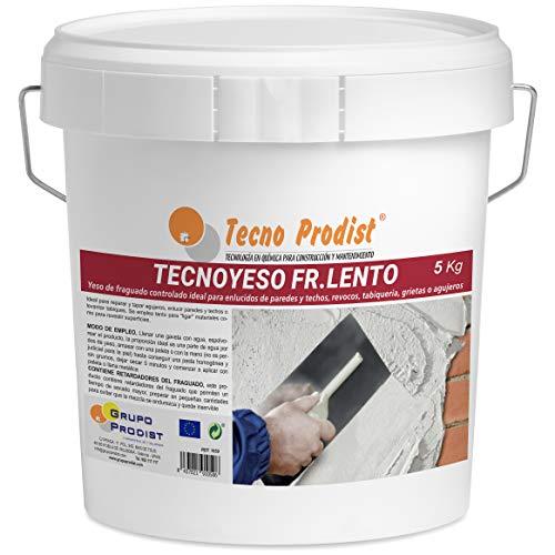 TECNO YESO LENTO de Tecno Prodist, (5 Kg) Yeso de fraguado controlado. Ideal para enlucidos,...