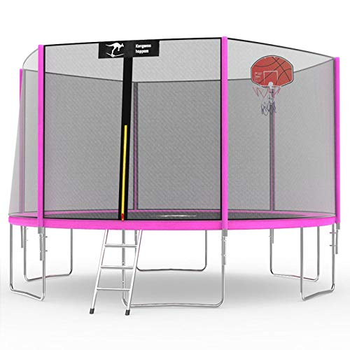 Kangaroo Hoppers 12 14 FT Trampoline with Safety Enclosure Net, Basketball Hoop and Ladder - 2020 Upgraded - Kids Basketball Hoop Trampoline - TUV and ASTM Tested - Multiple Color Choices (PINK, 14FT)