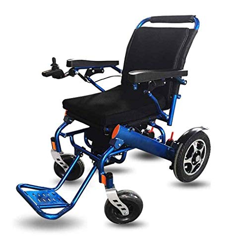 MJL Wheelchairs, Electric Wheelchairs,Comfort Lightweight Electric Folding Wheelchair, Compact, Sturdy Travel Wheelchair, 360° Joystick, Dual Function Lithium-Ion Battery,Blue
