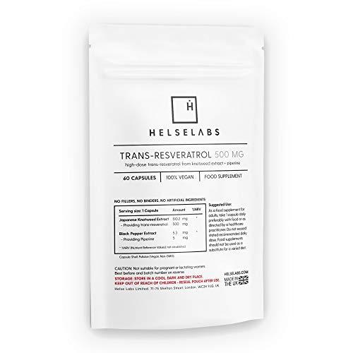 Trans-Resveratrol 500mg per Daily dose | 60 Capsules | Vegan | Highest Bioavailability