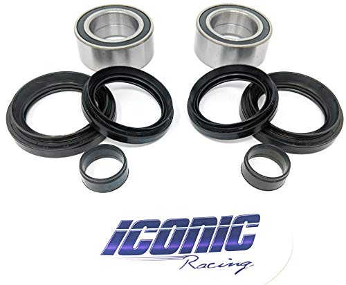 Iconic Racing Both Front Wheel Bearing and Seal Kits Fits Honda 07-13 Rancher 420 4x4 Fourtrax TRX420FA Fe FM FPA FPE FPM (4x4 Only)
