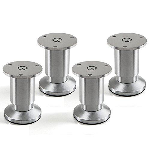 4er Set Möbelfüße verstellbar Schrankfüße Alu gebürstet, belastbar bis 250 Kg, Höhe: 80 mm von SO-TECH