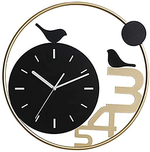 MUZIDP Relojes de Pared Redondo Metal silencioso Moderno Nórdico Nordic Wall Reloj de la Sala de Estar Cocina Decoración de la Pared para Cualquier habitación (Color : Black)