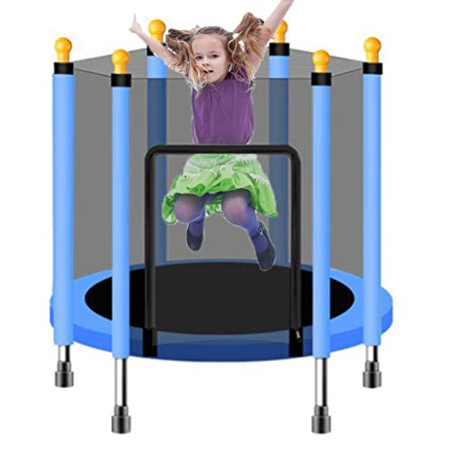 LXXTI Trampoline for Kids Indoor, Premium Trampoline with Safety Enclosure Net, Trampolines for Children for Family Backyard School Entertainment,Blue,140cm/55inch