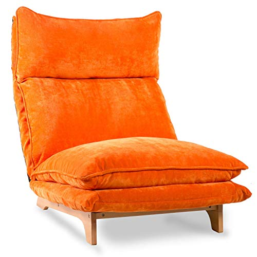 NOTH Adjustable Folding Sofa Lounge Sofa Chair Floor Lazy Sleeper Sofa Fabric(US Shipping) (Orange)