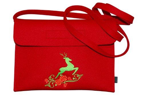 Krings fashion® Filztasche Tracht/Dirndltasche / Trachtentasche, Filzfarbe rot, mit...