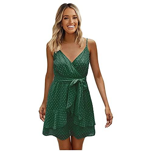 Ykghfd Vestido de tirantes de gasa con cuello en V y cuello en V para mujer, verde, S