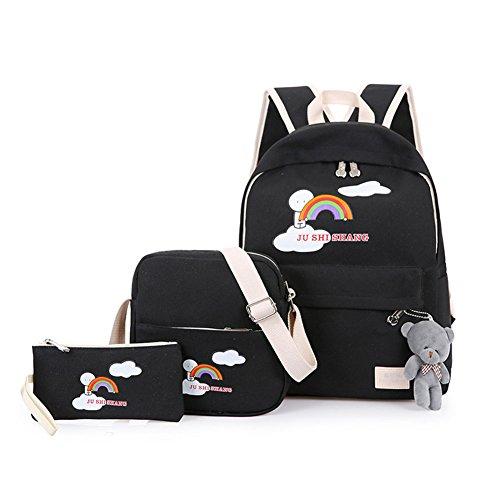 Zaino Casual Scuola Set 3Pcs Daypacks / Canvas Backpack Tela Zaini Ragazza / Donna+ Messenger Bag + Purse Nero Taglia unica