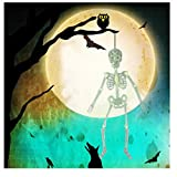 NIHAI Halloween Skeleton Luminous Glow-in-The-Dark Life Size Full Body Poseable Skeleton for Happy Halloween Party Bar Decorations Outdoor Yard Garden Terror Hanging Ornaments Props (A:32cm)