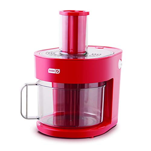 Dash D7FP300RMRD 7 in 1 Food Processor Prep Master Vegetable Chopper, Spiralizer, Slicer, Shredder + Dicer with Stainless Steel Blades for Onions, Tomatoes, Carrots, Zoodles & More, 1.5 L