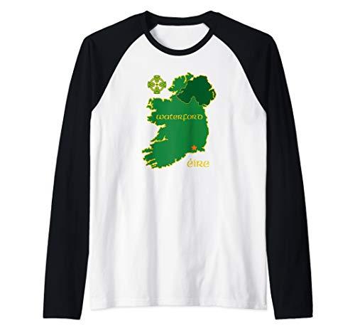 Waterford Ireland Vacation Travel Map Tourist Celtic Cross Raglan Baseball Tee
