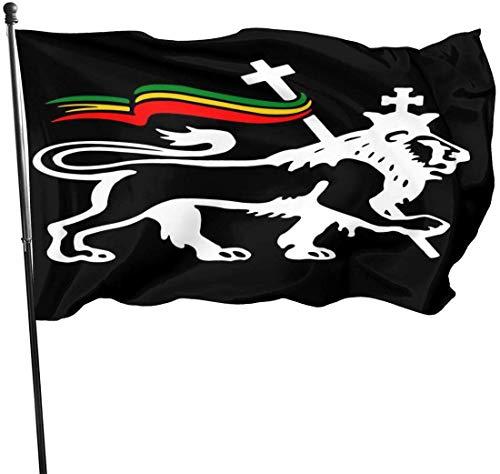 Leeuw van Judah Rasta Vlag Tuinvlaggen Duurzame Fade Resistant Decoratieve Vlaggen Premium Kwaliteit Officiële Vlag met Grommets Polyester Deluxe Outdoor Banner 2020 voor Alle seizoenen en vakanties- 3X 5 Ft